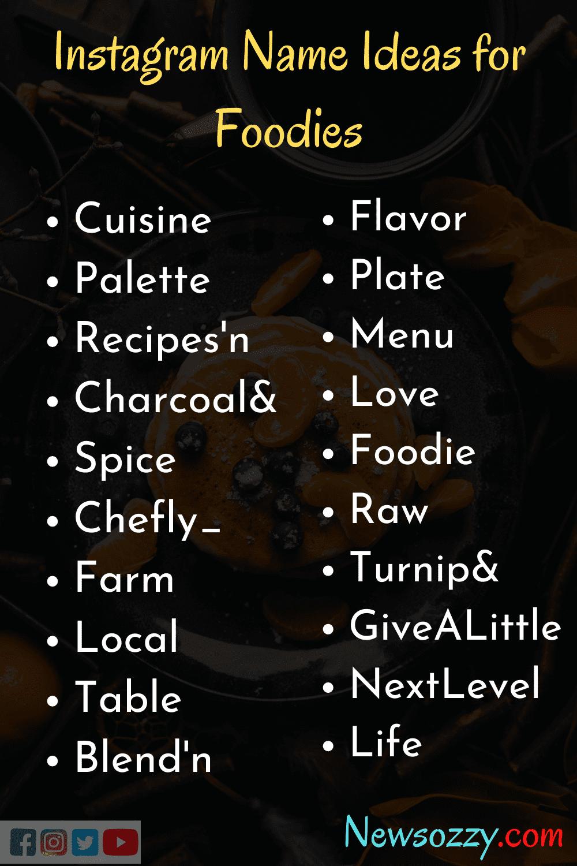 foodies insta username ideas