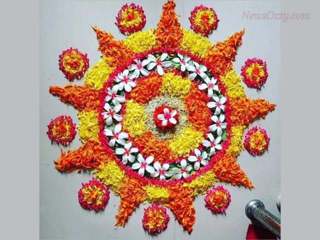 best new year 2021 kolam design with flowers