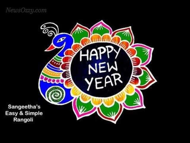 colorful peacock happy new year 2021 kolam design