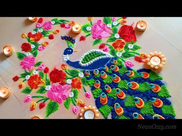 colorful peacock rangoli designs for 2021 new year