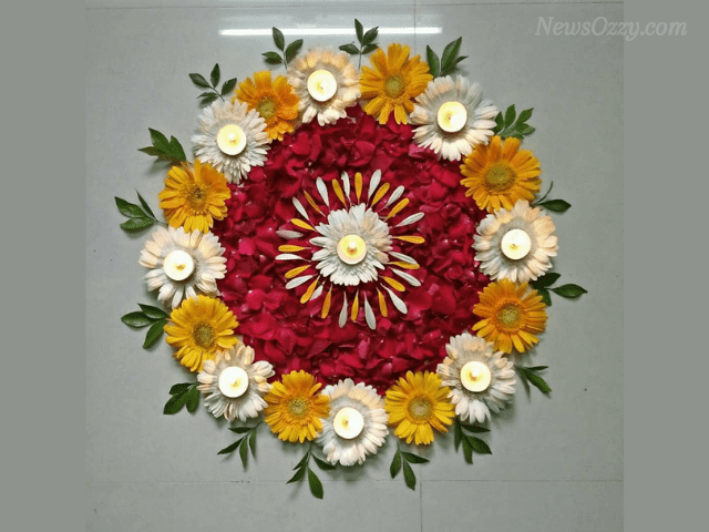 floral Rangoli design for new year 2021