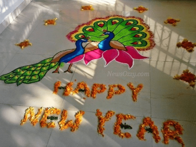 happy new year colorful and floral Rangoli design 2021