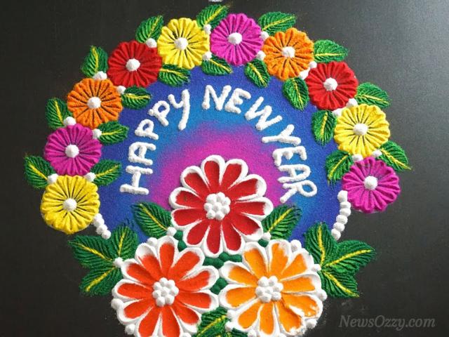 happy new year rangoli 2021