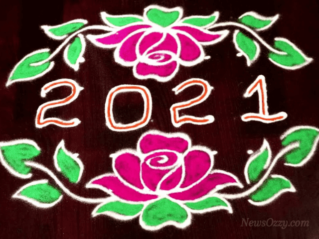 new year 2021 kolam designs with dots
