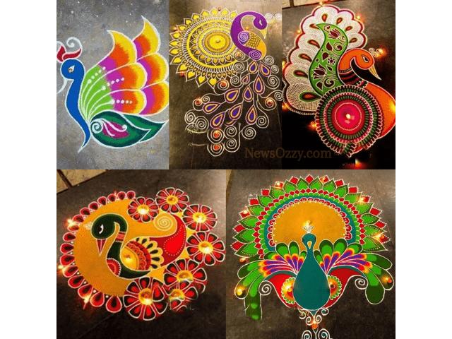 best peacock Pongal kolam patterns