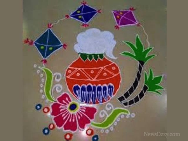 colorful Sankranti pot muggulu