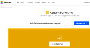 If you need to convert your PDF file to a JPG, SmallPDF