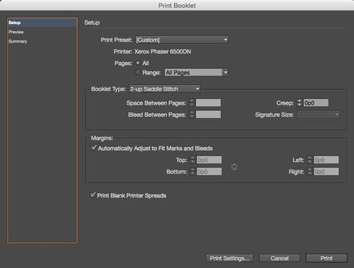 Print option InDesign CC Software