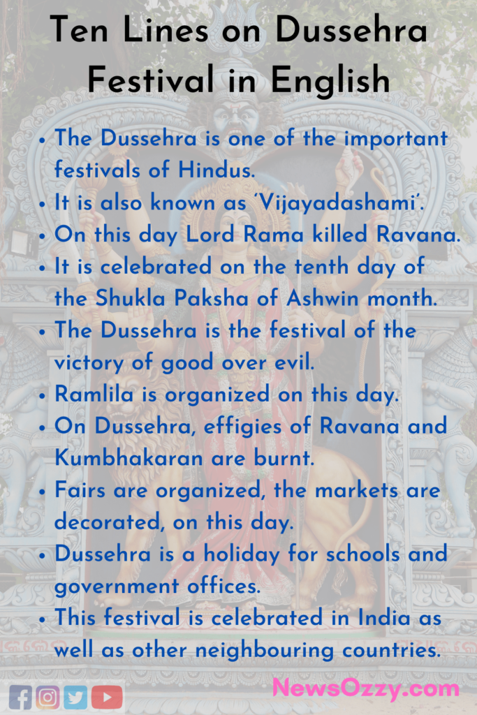 10 lines on dussehra festival in english