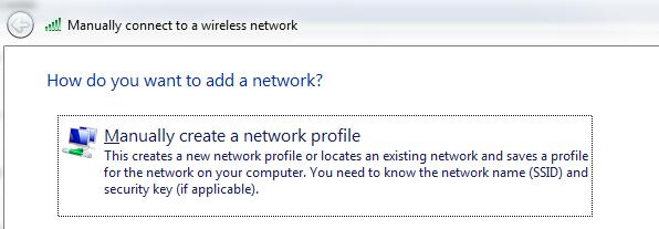 Manually create a network profile