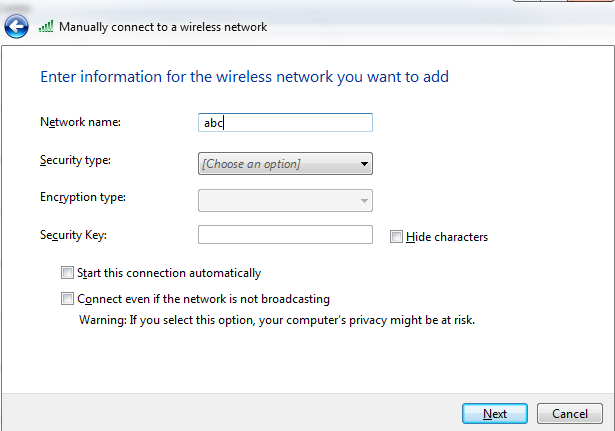 enter the ssid name of the network